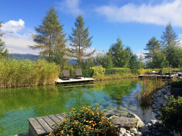 Bathing lake at the Kaiserhof Hotel, most luxurious hotels in Austria