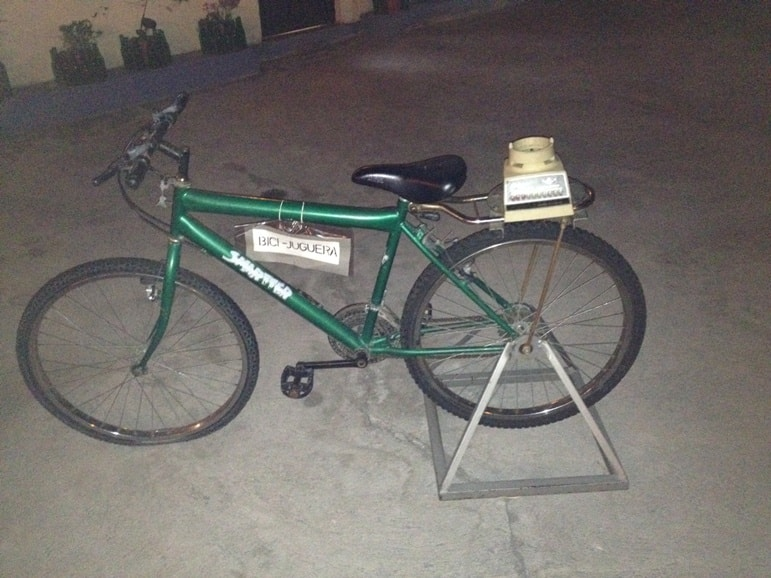 Things to do in Quito: hop on the juicing bike at restaurant Cuchara de San Marcos