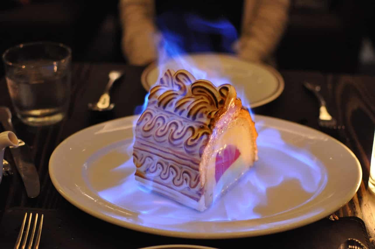 Omelette Norvegienne Baked Alaska at Daniel, one of the best places to go in New York for Michelin starred dining