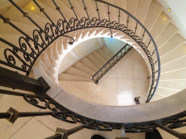Spiral staircase at Casa Gangotena