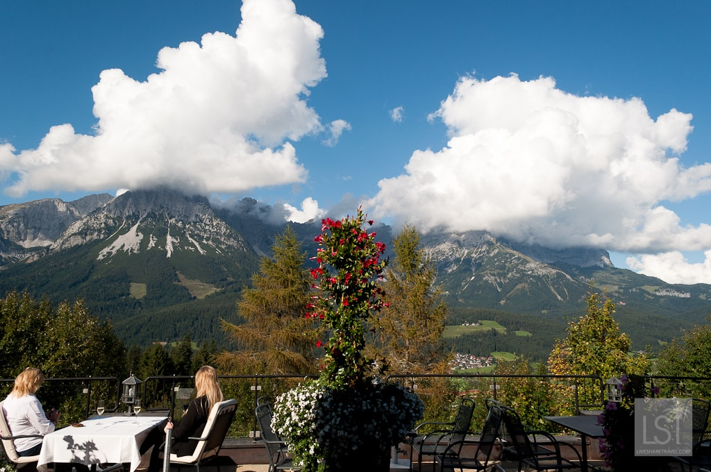 Table with a view at one of Austria's most luxurious hotels
