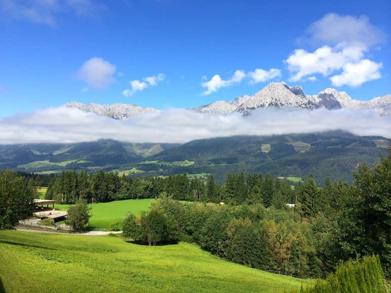 The Wilder Kaiser mountains reveal themselves to guests at one of the most luxurious hotels in Austria