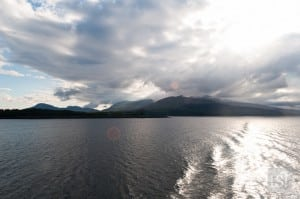 A striking sun as we set sail from Mull, off the west coast of Scotland