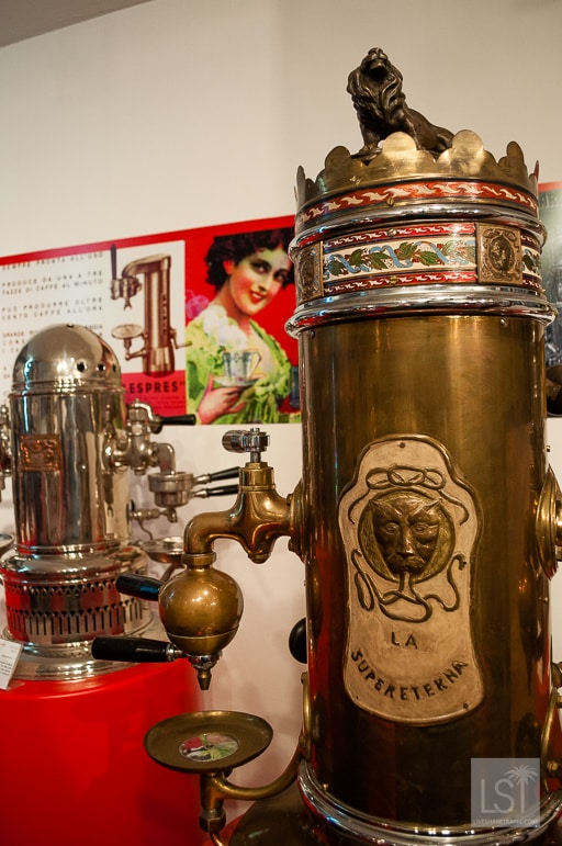 Coffee in Italy - Enamel and bronzing are evident in this Art Nouveau machine