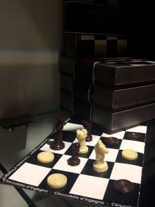 Chocolate chess set in Bologna, Italy