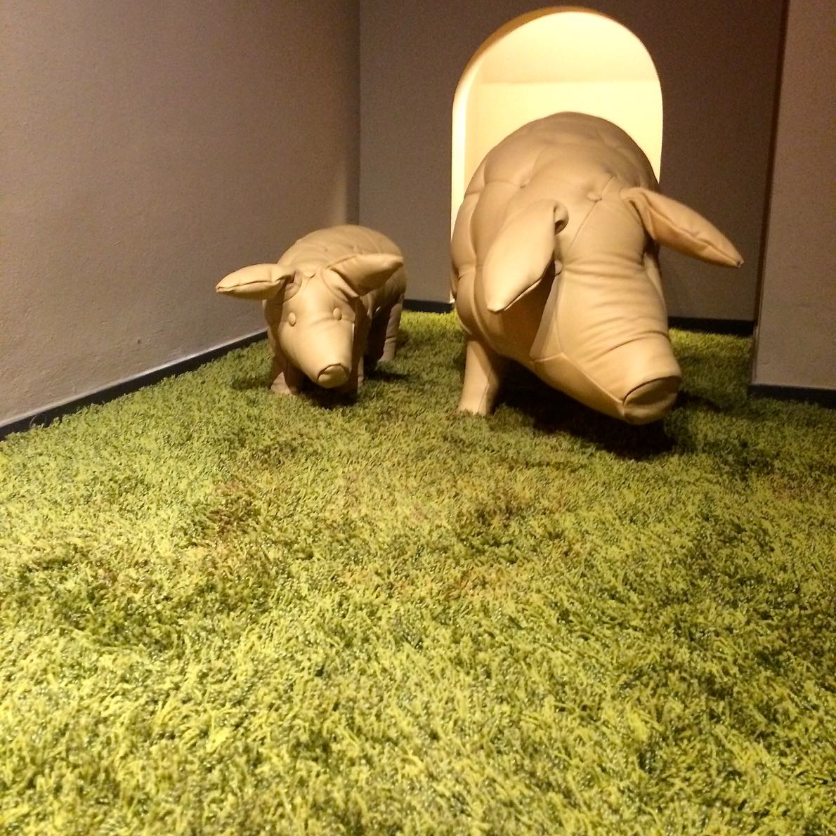In celebration of pork - leather pigs at MUSA, the museum of the cold cuts, Modena