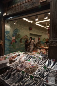 Food in Italy - fish shop in Quadrilatero, Bologna