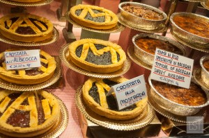 Food in Italy - pies on sale in Quadrilatero, Bologna