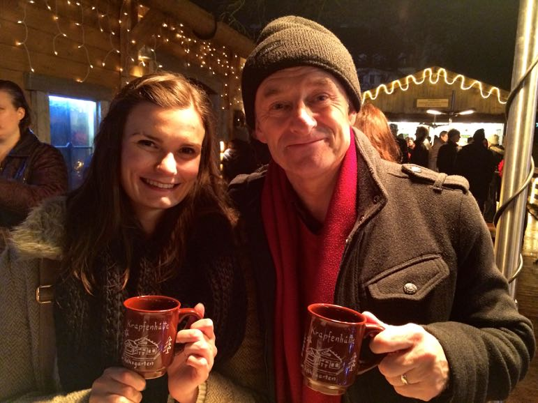 Lisa and Terry share a gluhwein during our Austrian Christmas markets visit