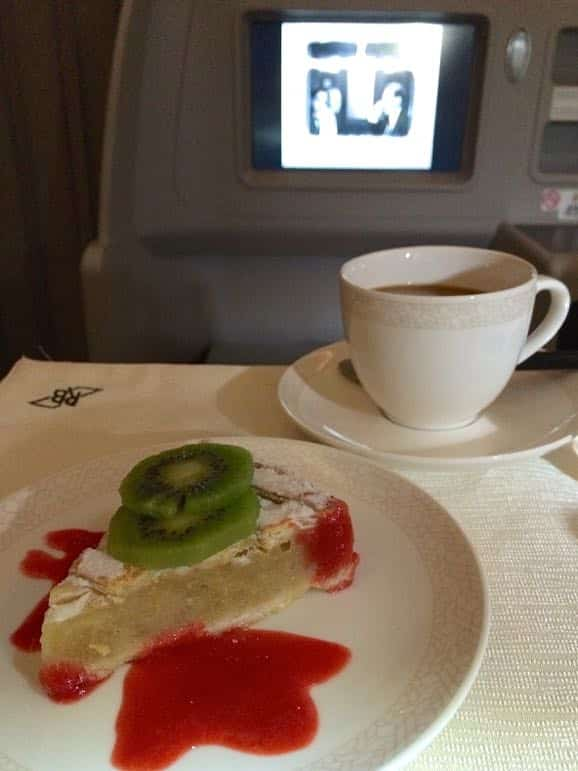 Meal time in Royal Brunei Airlines' business class - food served on real crockery, and plenty of room to stretch out and watch a film as well