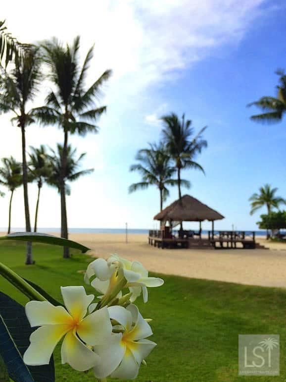 Beach scene at one of Sabah's top honeymoon destinations, Shangri-La Rasa Ria