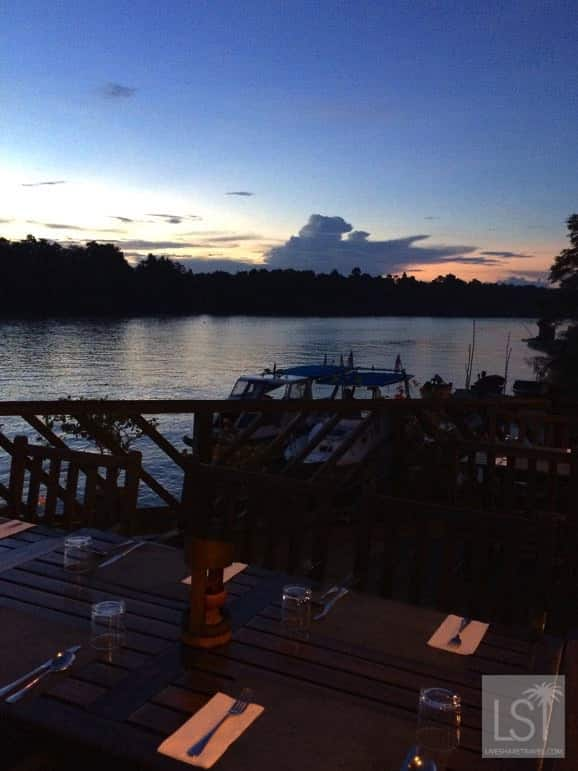 Dinner at Sukau Lodge - one of the island of Borneo's top honeymoon destinations