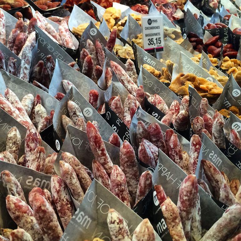 Fuet and chicharrones at Mercado San Miguel in Madrid