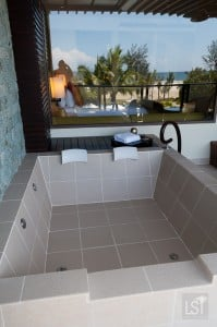 Outdoor bath on balcony of our suite at Shangri-La Rasa Ria