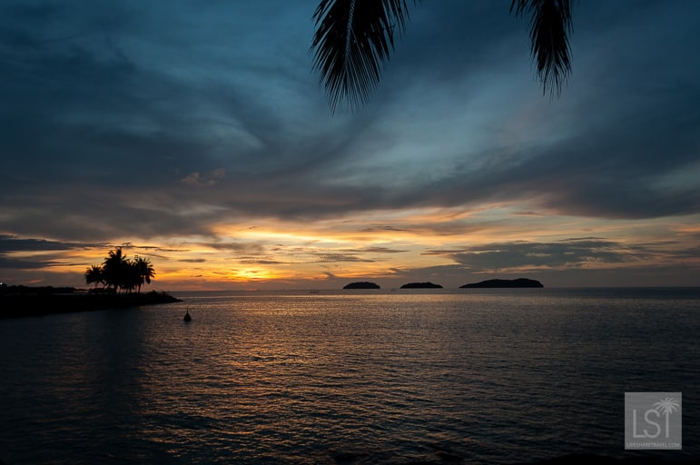 Sunset from the Pacific Sutera Harbour Resort in Kota Kinabalu - one of Sabah's top honeymoon destinations