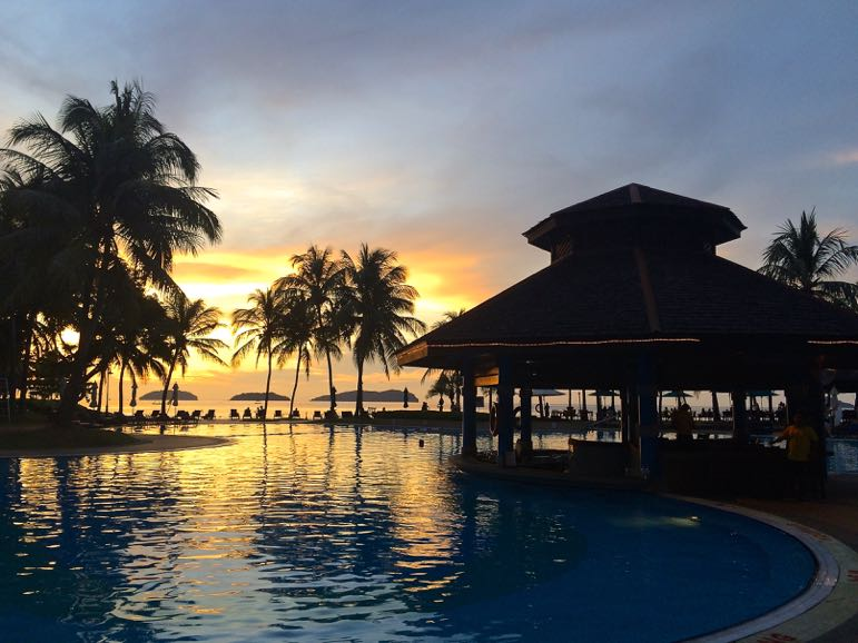 Swimming pool at Pacific Suetra Harbour, in Kota Kinabalu, one of Sabah's top honeymoon destinations