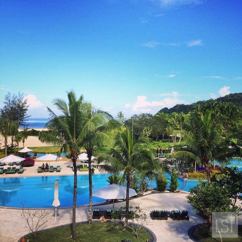 View from our Ocean Wing Suite at Shangri-La Rasa Ria