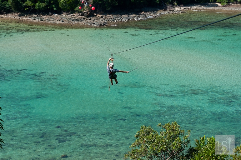 Zip-lining near Gaya Island, one of Borneo's top honeymoon destinations