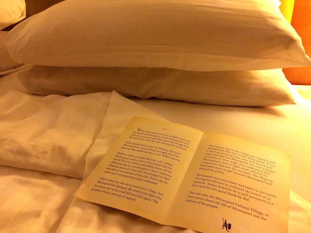 Bedtime stories in Borneo - short stories were left on our bed at turn down at the Shangri-La