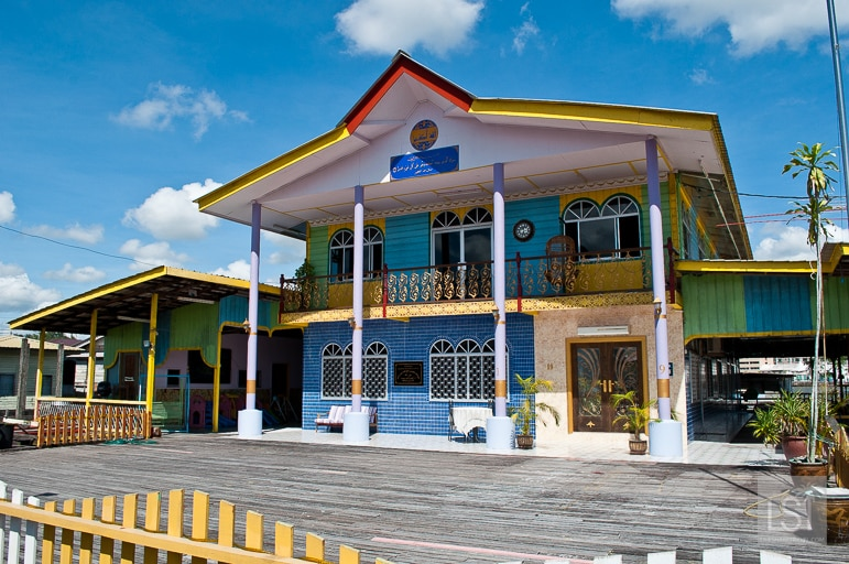 Brightly coloured home on the water village in Bandar Seri Begaw