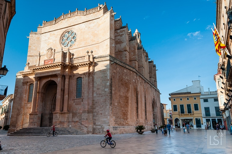 Cuitadella Cathedral in the spring sunshine in Menorca