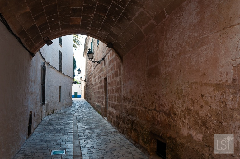 Winding alleyways in historic Cuitadella, Menorca