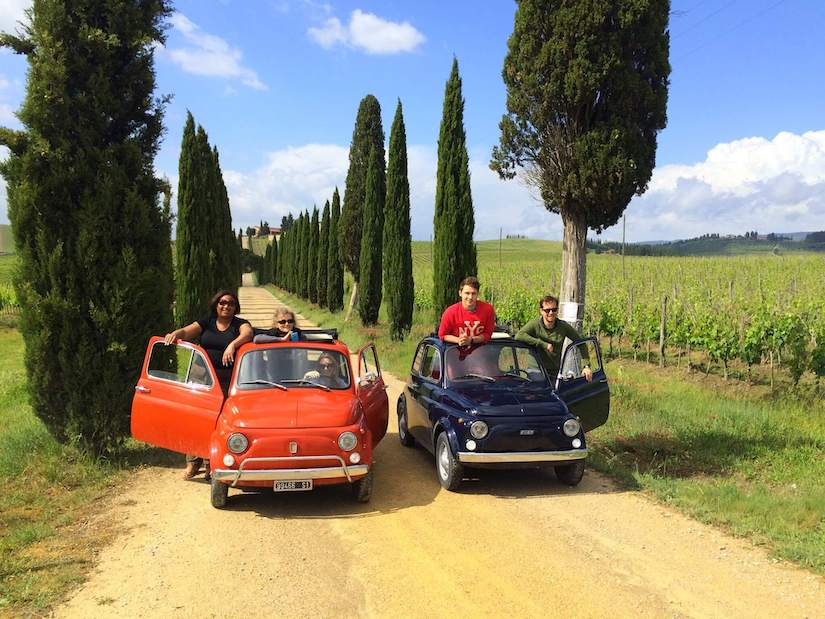 A wine tour in Chianti by Fiat 500 is one of the best things to do in Tuscany
