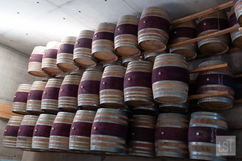 Barrels at Waterkloof in the South African wine region of Stellenbosch
