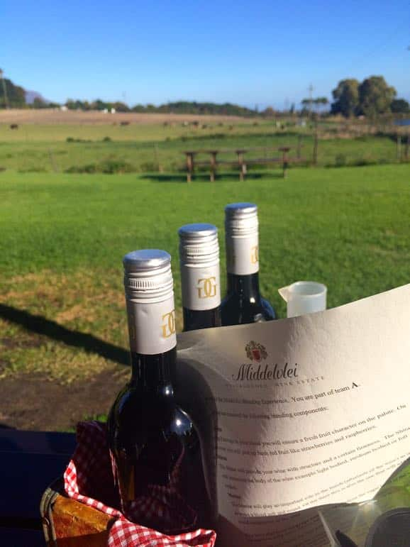 Blending wines at Middlevlei one of the Stellenbosch wineries