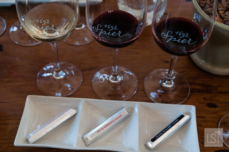Chocolate pairings at Spier Wine Estate, in the South African wine region of Stellenbosch