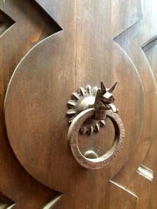 Dragon door knocker in San Gimignano