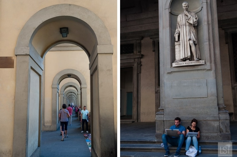 Heading to the Uffizi and creating art at the foot of a statue of Macchiavelli