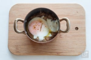 Menorcan mushrooms cooked with Menorcan sausage and slow cooked egg