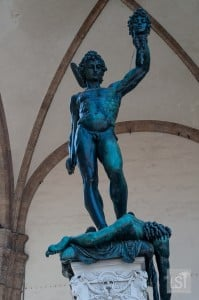Persus with the head of Medusa, a statue in Florence's Piazza della Signoria, one of many great places to go in the city