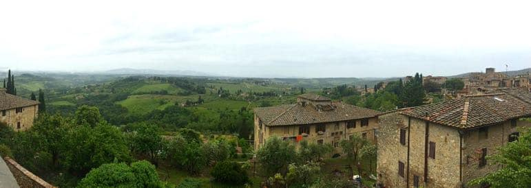 Things to do in Tuscany - view the countryside from San Gimignano