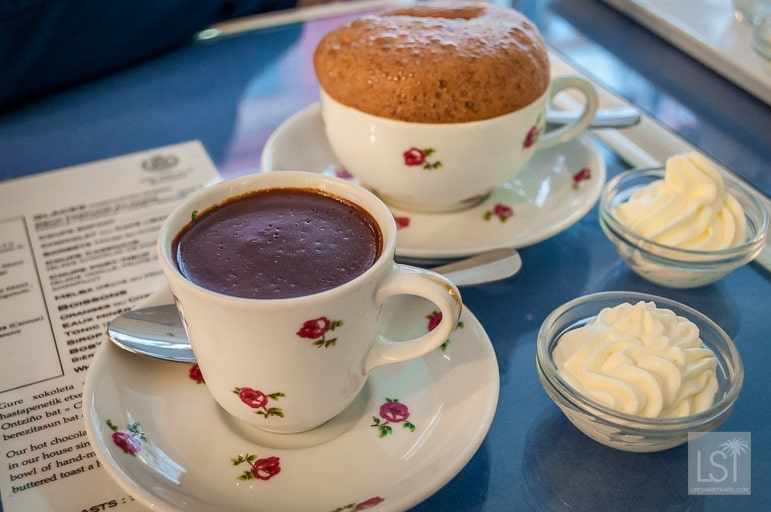 A cup of chocolate - whipped into a mouse and thick made with water and cinnamon, at Cazanave, in Bayonne in south-west France