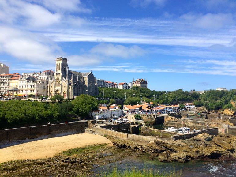 Biarritz's mix of architecture from Rocher de la Vierge in south west France