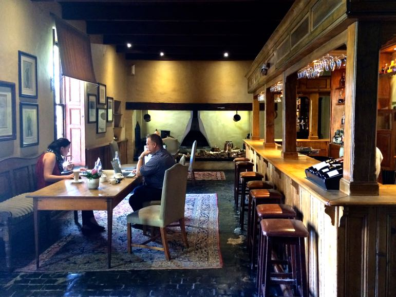 Tales of Stellenbosch wineries - the popular bar at Lanzerac Wine Estate