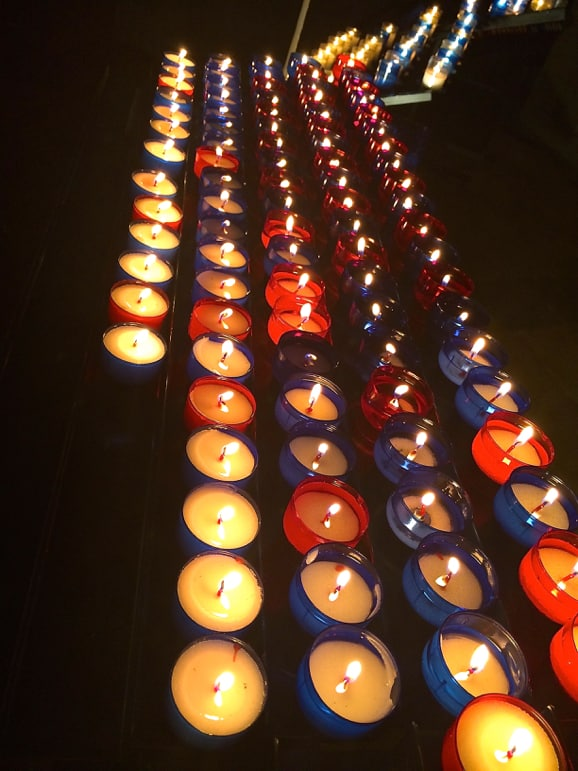 Very French candles in the Gothic cathedral of St Mary's, Bayonne
