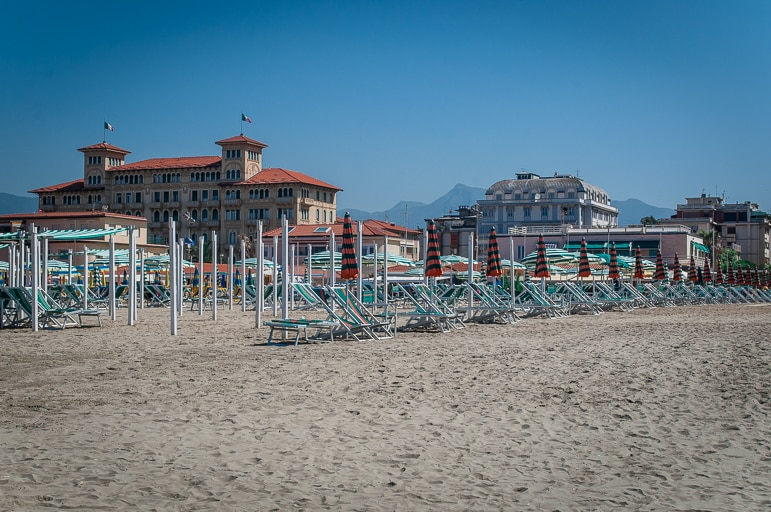 Down on the beach in Viareggio, one of the premier Tuscany beaches