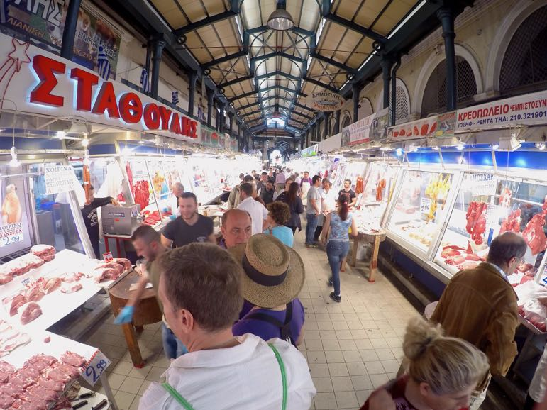 Greek cuisine - shopping at Varvakeios Market, Athens