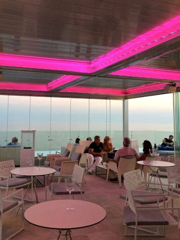 Inside at the roof top bar Amàre Marbella Beach Hotel