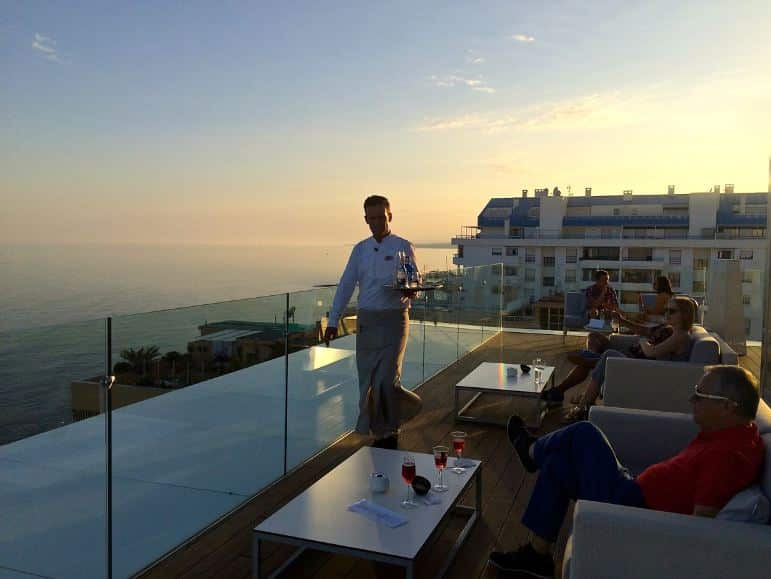Relaxing at the only roof top bar in Marbella, Amàre Marbella Beach Hotel
