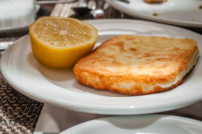 Traditional Greek recipes - cheese saganaki