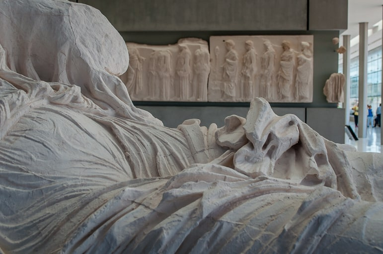 The Parthenon friezes and statues inside Athens' Acropolis Museu