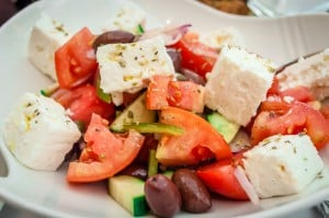 A Greek salad at the Byzantion restaurant, Hilton Hotel, Athens