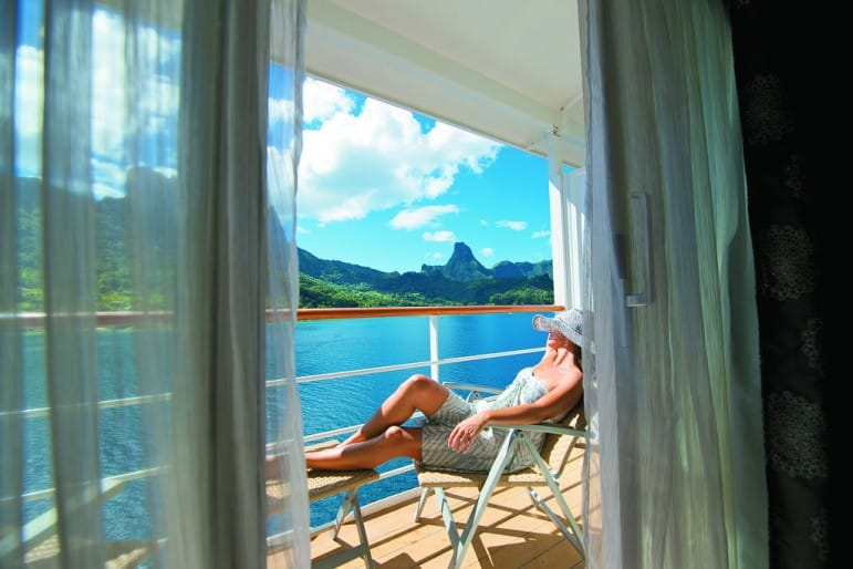 Top cruise tips: Upgrade to a balcony suite, pictured: The Gauguin I Pic: Roderick Eime
