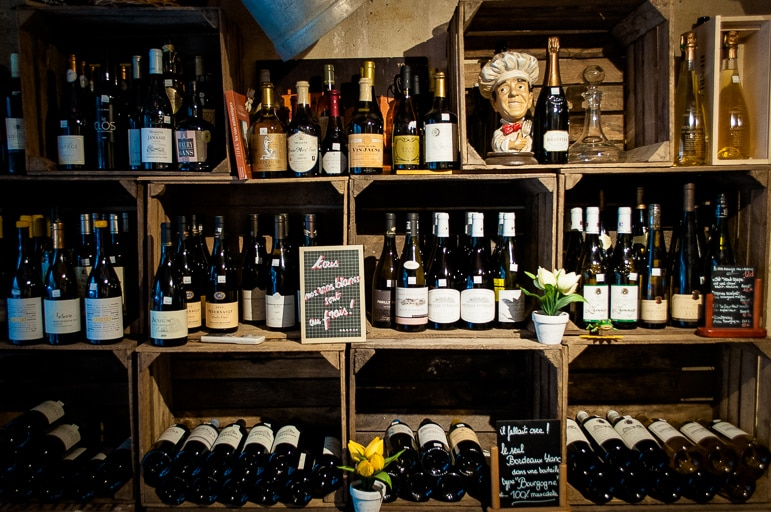 An array of Bordeaux and other wines at French cheese restaurant Baud et Millet