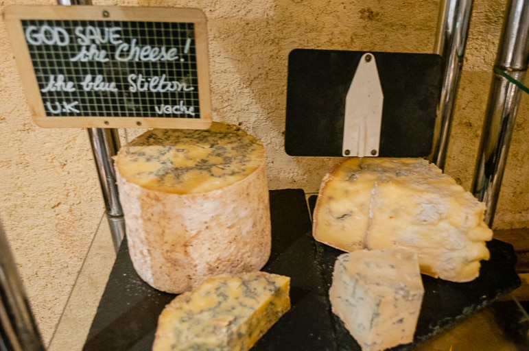 British blue stilton at French cheese restaurant Baud et Millet