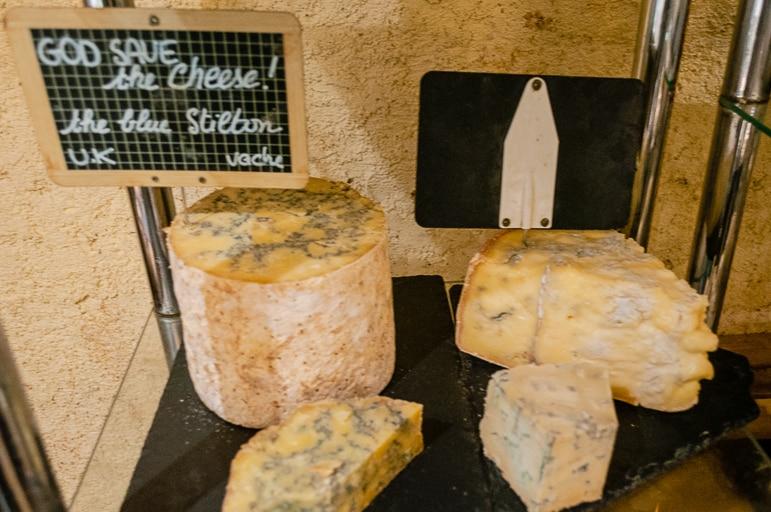 British blue stilton at French cheese restaurant Baud et Millet